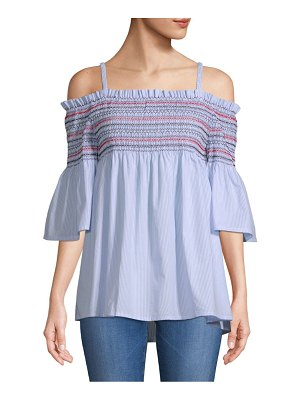 Chelsea & Theodore Cold-Shoulder Smocked Cotton Top
