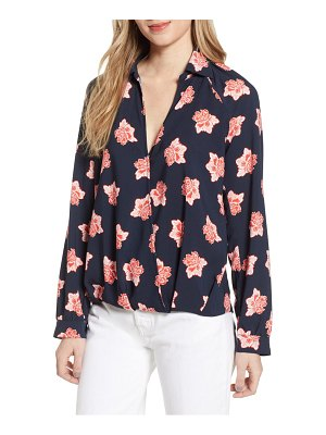 Chelsea28 floral print draped wrap front top