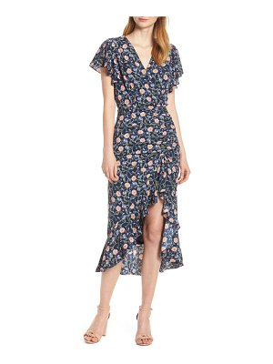 Chelsea28 ruched floral midi dress