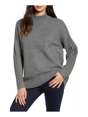 Chelsea28 stripe detail mock neck sweater