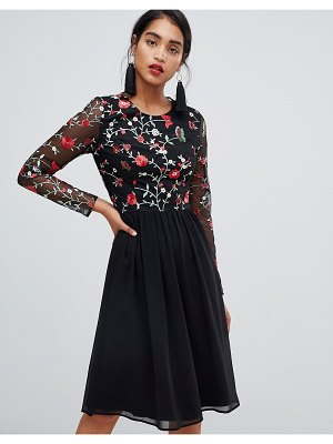 Chi Chi London 2 in 1 embroidered skater dress with chiffon skirt