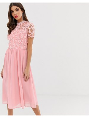 Chi Chi London 2 in 1 3d applique skater dress with tulle skirt in pink