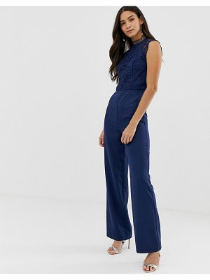Chi Chi London 2 in 1 high neck lace jumpsuit in navy