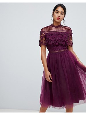 Chi Chi London 2 in 1 lace top midi dress with tulle skirt in deep purple