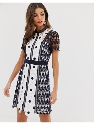Chi Chi London a line mini lace dress in navy