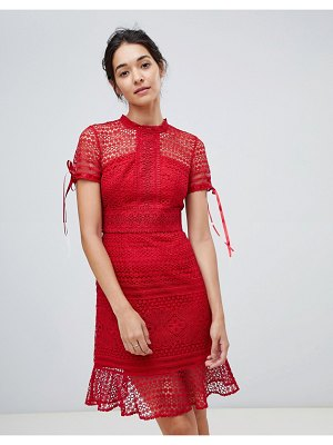 Chi Chi London allover lace midi dress with high neck and short sleeve