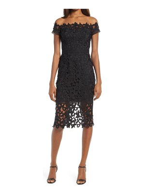 Chi Chi London amabella off the shoulder lace cocktail dress