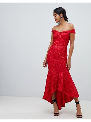 Chi Chi London bandeau embroidered high low maxi dress