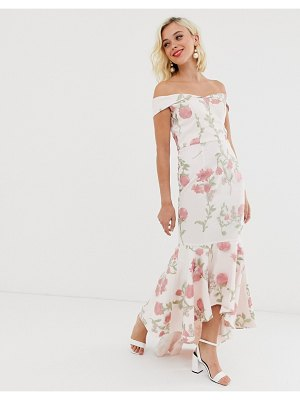 Chi Chi London bardot fishtail maxi dress in floral embroidery