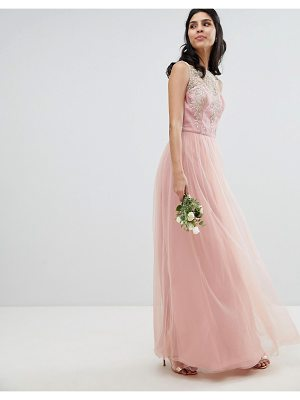 Chi Chi London Sleeveless Maxi Dress with Premium Lace and Tulle Skirt