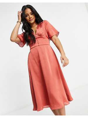 Chi Chi London button detail flutter sleeve midi skater dress in rust-brown
