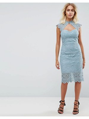 Chi Chi London crochet lace midi pencil dress with scalloped back