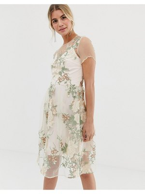 Chi Chi London embroidered midi dress with sheer overlay in pink