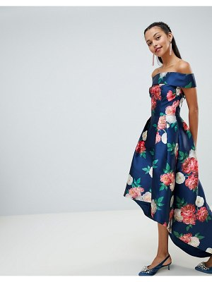 Chi Chi London floral printed bardot midi dress with high low hem