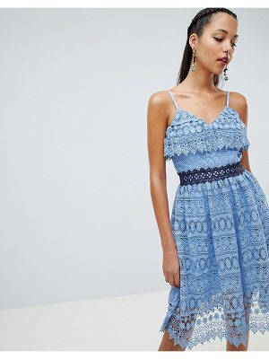 Chi Chi London frill shoulder lace skater dress