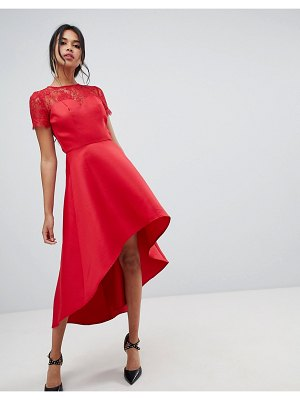 Chi Chi London high low hem midi dress with lace sleeves