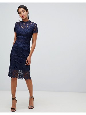 Chi Chi London high neck lace pencil dress