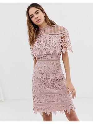 Chi Chi London high neck lace pencil midi dress in blush pink