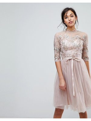 Chi Chi London high neck tulle midi dress with cut out back detail