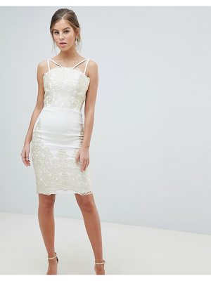 Chi Chi London lace detail pencil midi prom dress with v back