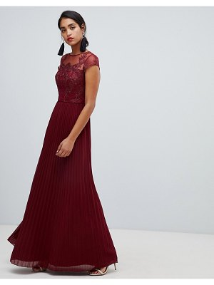 Chi Chi London lace embroidered top maxi dress with pleated skirt in wine