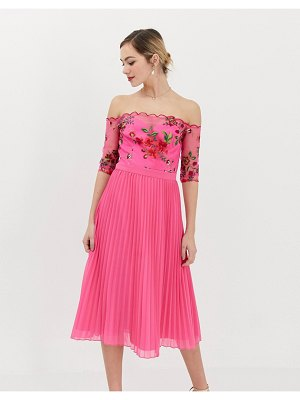 Chi Chi London lace embroidered top midi dress with pleated chiffon skirt