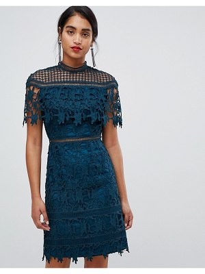 Chi Chi London lace high neck mini dress