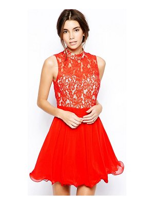 Chi Chi London lace high neck prom dress with full skirt