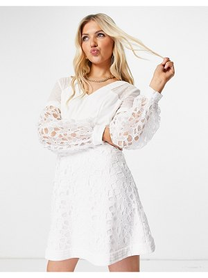 Chi Chi London lace insert dress in white