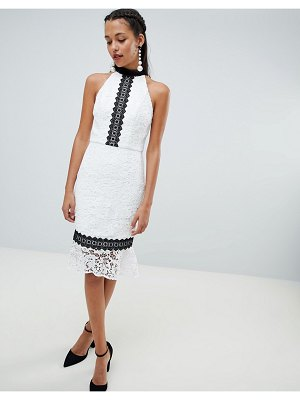 Chi Chi London lace pencil dress with frill hem