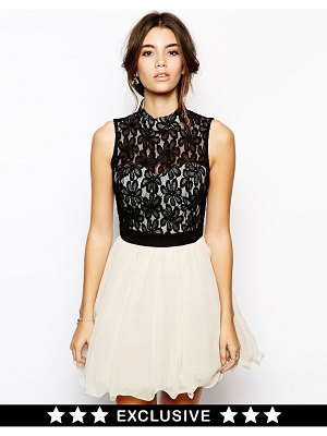 Chi Chi London lace prom dress with high neck