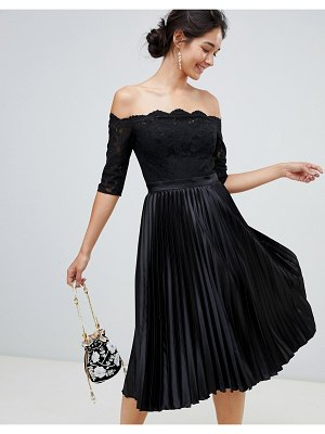 Chi Chi London lace top midi dress with pleated skirt