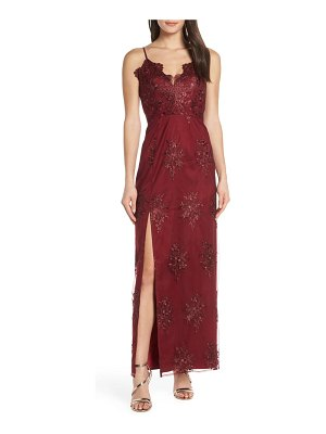 Chi Chi London makayla floral embroidered mesh evening dress