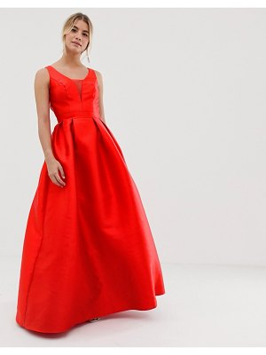 Chi Chi London maxi prom dress with open back in red