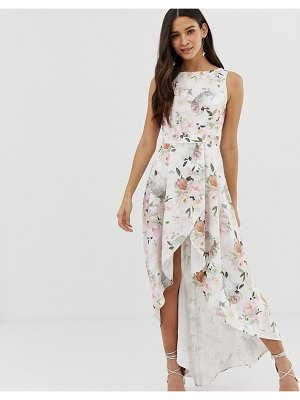 Chi Chi London midi high low floral skater dress in pink