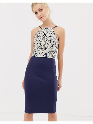 Chi Chi London midi pencil dress with gold embroidery
