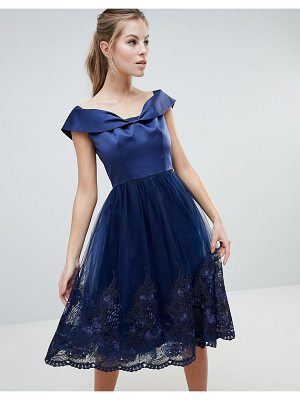 Chi Chi London off shoulder midi dress with bow front and premium lace detail