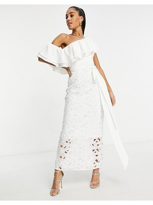 Chi Chi London one shoulder ruffle midaxi dress in white