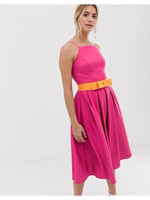 Chi Chi London pinny prom dress with contrast belt in pink