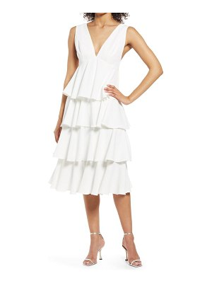 Chi Chi London plunge neck tiered ruffle cocktail dress
