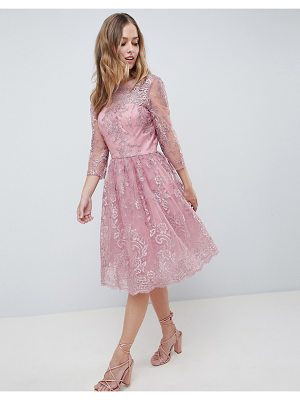 Chi Chi London premium embroidered long sleeve midi dress