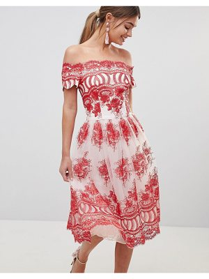 Chi Chi London premium lace dress with placement embroidery
