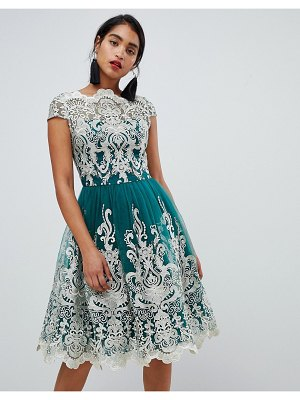 Chi Chi London premium metallic lace midi prom dress