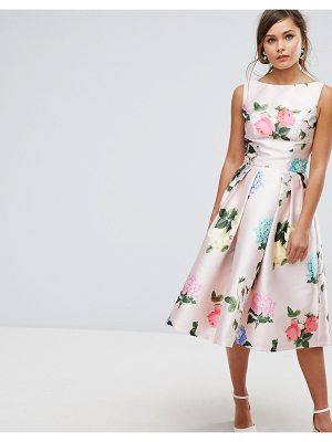 Chi Chi London printed satin midi prom dress