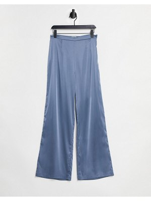 Chi Chi London satin tie pants in blue-blues