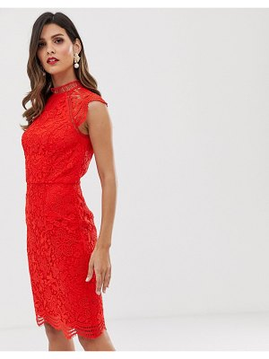 Chi Chi London scallop lace pencil dress in red