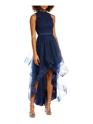 Chi Chi London thaiza high/low embroidery & tulle evening gown