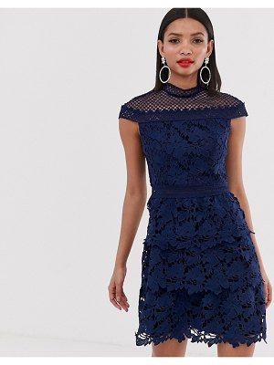 Chi Chi London tiered lace a line mini dress in navy