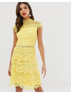 Chi Chi London tiered lace a line mini dress in yellow