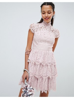 Chi Chi London tiered lace high neck skater dress